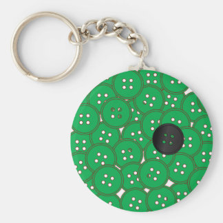 Green Buttons Basic Round Button Key Ring
