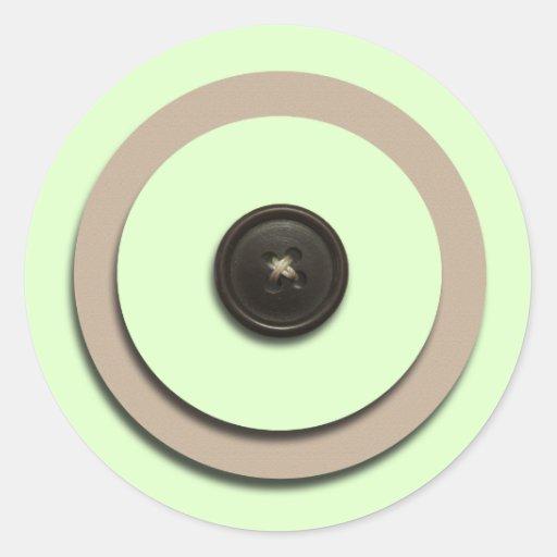 Green Buttons & Brackets Envelope Seals Round Sticker