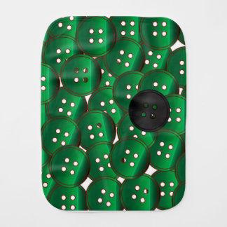 Green Buttons Burp Cloth