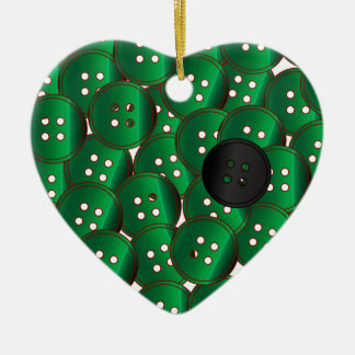 Green Buttons Ceramic Ornament