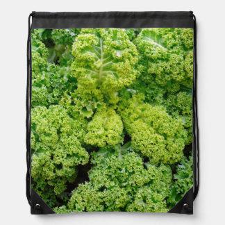 Green cabbage drawstring bag