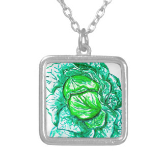 Green Cabbage Watercolor 2 Silver Plated Necklace