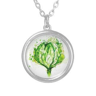 Green Cabbage Watercolor Silver Plated Necklace