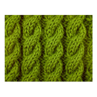 Green cable knitting postcard
