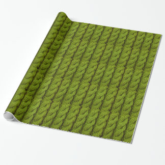 Green cable knitting wrapping paper