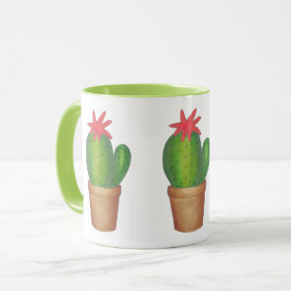 Green Cactus Flower Bloom Cacti Garden Mug