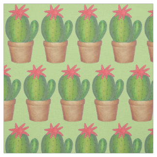 Green Cactus Flower Cacti Potted Plant Fabric