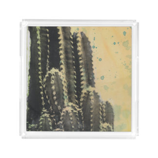 Green Cactus on Yellow Background Acrylic Tray