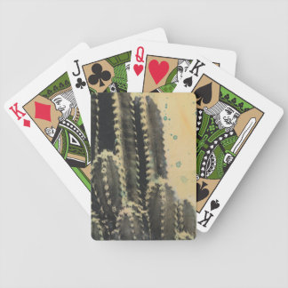 Green Cactus on Yellow Background Bicycle Playing Cards
