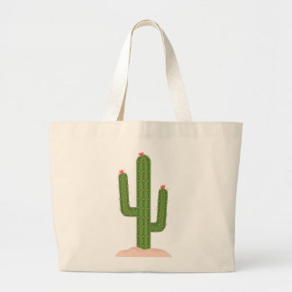 Green Cactus Pink Flower Succulent Southwestern Large Tote Bag