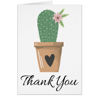 Green Cactus Thank You Pink Flower Southwestern Card