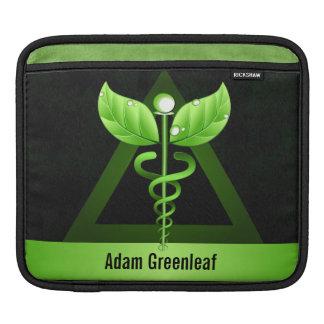 Green Caduceus Alternative Medicine Horizontal Sleeve For iPads