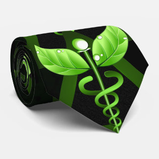 Green Caduceus Alternative Medicine Medical Emblem Tie