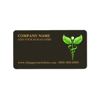 Green Caduceus Alternative Medicine Symbol Brown Address Label