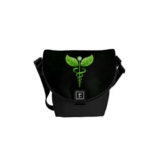 Green Caduceus Icon Holistic Health Courier Bags