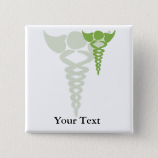green caduceus medical gifts 15 cm square badge
