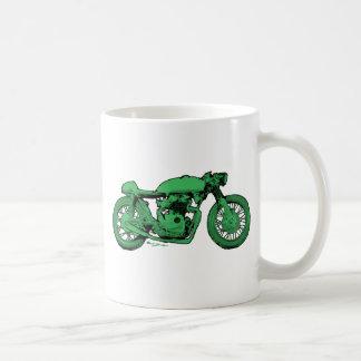 Green Cafe Racer Vintage Motorcycle Basic White Mug