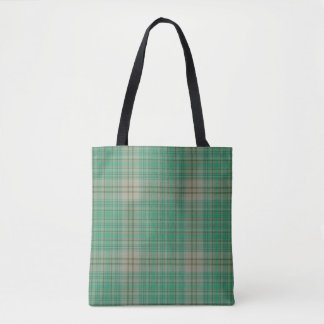 Green Camel Ecru Tartan Plaid Tote Bag