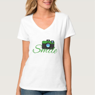 Green Camera & Smile Photographer t-shirt
