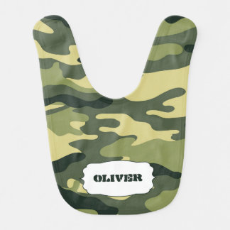 Green Camo Baby Bib with name / camouflage