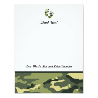 Green Camo Baby Shower Thank you notes feet Card