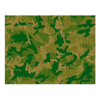 Green Camo Burlap Texture Postcard