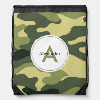 Green camo camouflage monogram book gym school bag