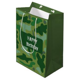 Green Camo Design Guys Birthday Gift Bag