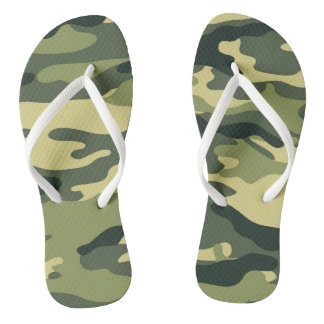 Green Camo Flip flops, camouflage olive drab Thongs