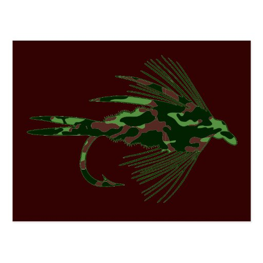 GREEN CAMO FLY FISHING LURE POST CARDS