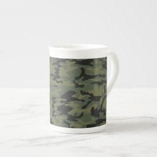 Green camo pattern bone china mug