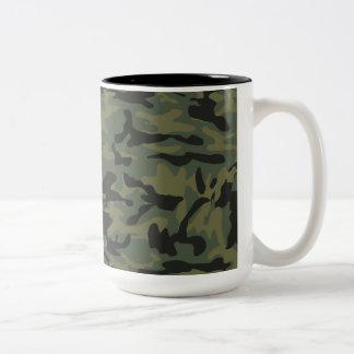 Green camo pattern Two-Tone mug