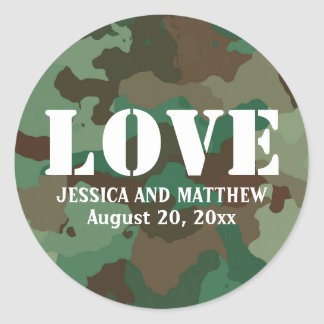 Green Camo Personalized Love Wedding Favor Seal Round Sticker