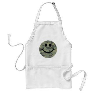 Green Camo Smiley Face Adult Apron