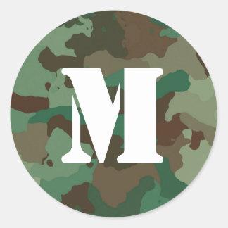 Green Camo Sticker with Bold White Monogram