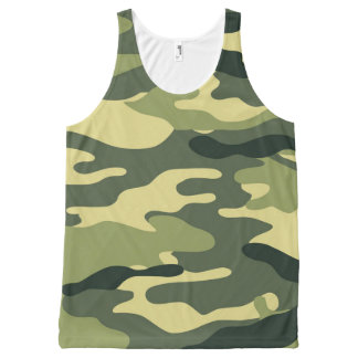 Green Camo tank top, camouflage shirt All-Over Print Tank Top
