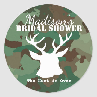 Green Camo The Hunt is Over Bridal Shower Round Sticker