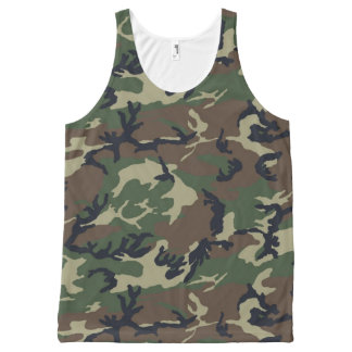 Green Camouflage All-Over Print Singlet