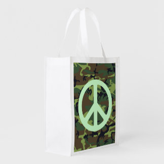 GREEN CAMOUFLAGE AND PEACE SIGN Reusable Bag