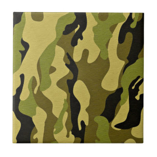 Green camouflage army texture ceramic tile
