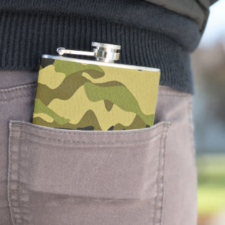 Green camouflage army texture hip flask