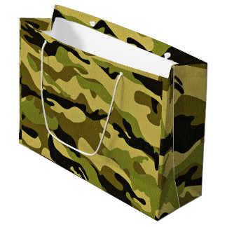 Green camouflage army texture large gift bag