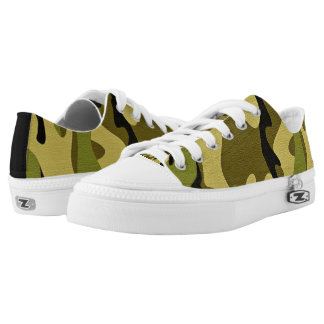 Green camouflage army texture low tops
