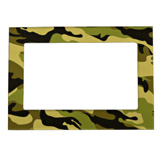 Green camouflage army texture magnetic frame