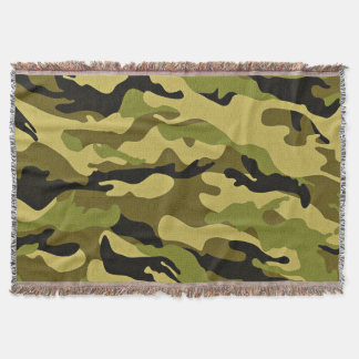 Green camouflage army texture throw blanket