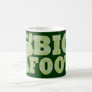 Green camouflage Bigfoot text Mugs