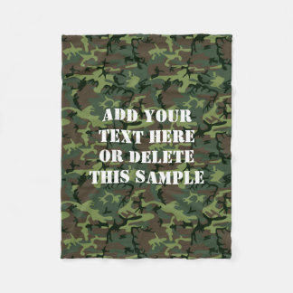 Green Camouflage Camo Pattern Personalized Fleece Blanket