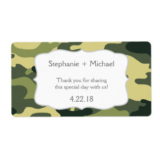 Green Camouflage Camo Water Bottle Favor
