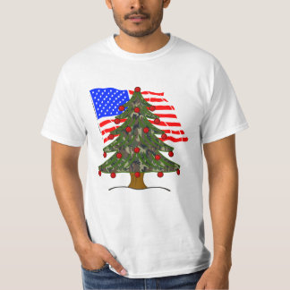 Green Camouflage Christmas Tree With American Flag T-Shirt