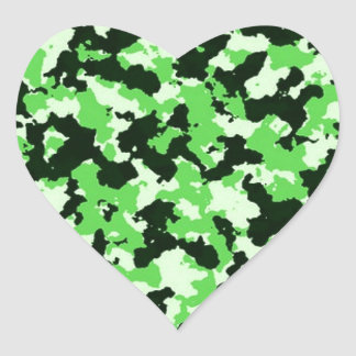 Green Camouflage Heart Sticker